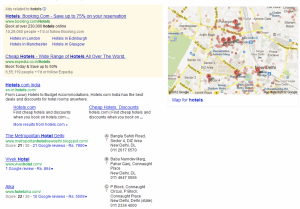 Search results for hotels using Google