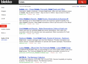 Search results for hotels using Blekko