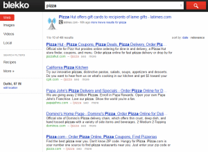 Search results for pizza using Blekko